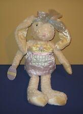 """New Hallmark """"Madeleine Sweets� White Bean Plush Bunny Rabbit w/ Purple Flower"""