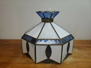 """Tiffany Style Vintage Hanging Lamp BLUE Stained Glass Light Chandelier 15"""""""