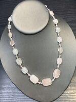 "Bohemian Rose Quartz  Stone Pink Square beaded necklace 16-18"""
