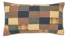 PATRIOTIC PATCH QUILTED KING SHAM : COTTON PRIMITIVE RED BLUE LUX PILLOW COVER