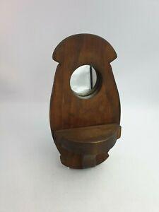 Handcrafted Wooden Rustic Candle Ornament Display Oblong Wall Shelf Round Mirror