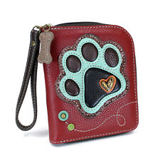 NWT CHALA BURGUNDY PAW DOG ZIPPERED WALLET FAUX LEATHER BLUE