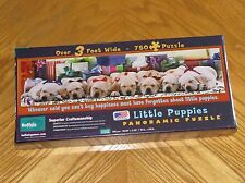 Little Puppies Christmas 750 Pc Panoramic Puzzle sleeping dogs presents - Sealed