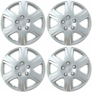 """15"""" Set of 4 Silver Wheel Covers Snap On Full Hub Caps fit R15 Tire & Steel Rim"""