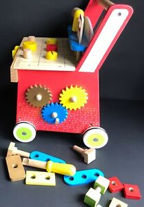 PRE-SCHOOL WOODEN CHILDS TOY WALKER PUSH ALONG TOOL BENCH TOY