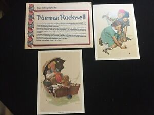 Two Lithographs by Norman Rockwell 1972 Knuckles Down and Golden Days