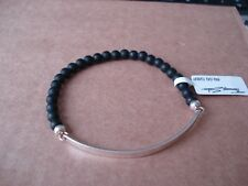 THOMAS SABO Sterling Silver LOVE BRIDGE Bracelet - Obsidian Beads Matt Black
