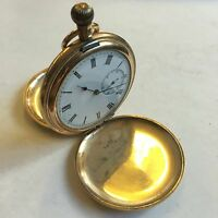 Antique Gold Plated Full Hunter American Waltham Ensign Pocket Watch Not Working