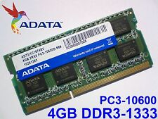 4GB DDR3-1333 PC3-10600 ADATA 204pin 1333 1066 Mhz LAPTOP SODIMM RAM SPEICHER