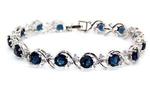 Silver Blue Sapphire & White Topaz 16ct Bracelet (Free Gift Box)