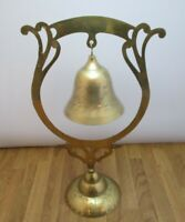 Vintage Antique Free Standing Brass Bell Gong Dinner Chime