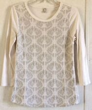 J Crew Embroidered Top Geometric Floral Mod White Gray Leaf Moroccan Tee Shirt S