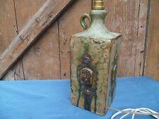 1930 Art Déco Pied de Lampe Ancien Terre Cuite artisanat décor  coulures signée