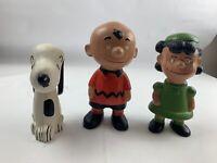 Vintage Peanuts Snoopy Charlie Brown Lucy Van Pelt Ceramic Figurines Hand Paint