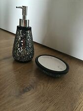 BN Black Mosaic Crackle Bathroom Soap Lotion Dispenser & Soap Dish Bathroom