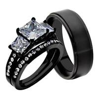 His Hers 3 Pc Men's Women's Stainless Steel Wedding Engagement Ring Band Set kr