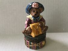 Boyds LeBearmoge Porcelain Hinged Trinket Box Born To Shop Premier Edition New