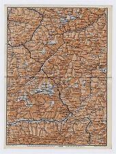 1911 ANTIQUE MAP OF GRAUBUENDEN ALBULA ALPS SILVRETTA SWITZERLAND ITALY