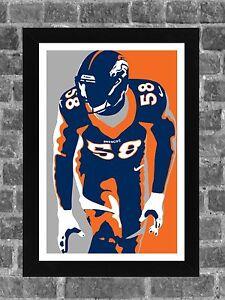 Denver Broncos Von Miller Portrait Sports Print Art 11x17