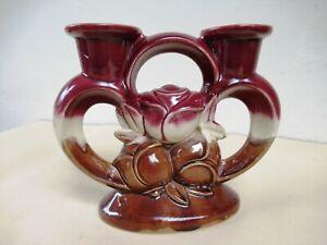 Vintage Candle Holder Porcelain Pink Rose Candelabra Roses Collectibles Majoli*F