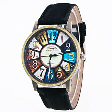 Harajuku Graffiti Pattern Leather Band Analog Quartz Vogue Wrist Watches Black
