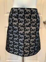 J. Crew Black Zebra Pattern Skirt, Size 10