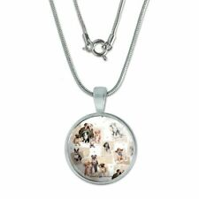 """Cool Dudes Dogs in Outfits 0.75"""" Pendant with Sterling Silver Plated Chain"""