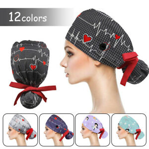 Surgical Scrub Hat Bouffant Cap For Long Hair Women Doctor Nurses Head Cover