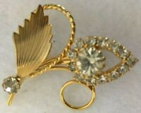 Vintage Pin Brooch Gold Tone Flower Clear Rhinestone Leaves Spring Garden 2""