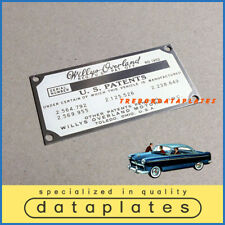 WILLYS OVERLAND AERO COUPE DATA PLATE PATENTS PLATE KAISER TAG ID TAG
