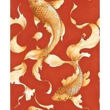 Wallpaper Designer Golden Orange Koi Fish on Red Faux