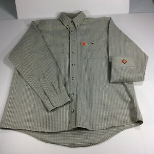 Wrangler FR Riggs Mens Size Large Tall Workwear Long Sleeve Button Work Shirt