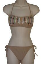 Bar III bikini set swimsuit size L M taupe bandeau ruched back nwt
