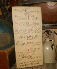 PRIMITIVE CHRISTMAS TYPOGRAPHY SIGN~~FAMILY~~SILENT NIGHT~~HOLY NIGHT~PEACE~NOEL
