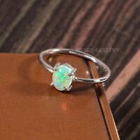 Natural Ethiopian Opal Solid 925 Sterling Silver Handmade Ring Size - 6.5 R-537