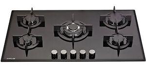 MILLAR GH9051PB 5 Burner Built-in Gas on Glass Hob 90cm - Cast Iron Stands & Wok