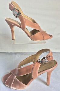 Michael Kors Becky Heels Sandals Slingback Velvet Blush Pink Strappy Sz 8.5 NEW