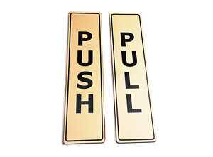 PUSH & PULL Adhesive GOLD Door Signs - for business, restaurants, bars, hotels