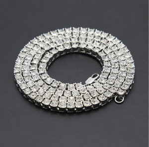 Hip Hop Mens Women 1 Row Tennis Chain Link Curb Cuban Necklace Jewelry 18-30inch