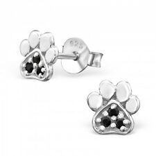 Sterling Silver 925 Black Cubic Zirconia Small Dog / Cat Paw Print Stud Earrings