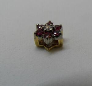 "Vintage Signed JABEL 18K GOLD DIAMOND RUBY Slide Pendant Add A Charm 1.2g 0.25""D"