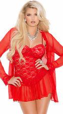 New Sexy Women Babydoll Sleepwear Pajamas Lace Robe Lingerie Nightdress 3PCS Set