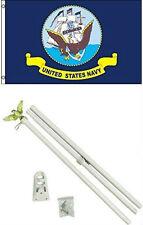 3x5 U.S. Navy Ship Crest Flag w/ 6' Ft White Flagpole Flag Pole kit