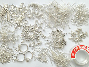 Wholesale lot 1270 jewellery making set of silver plated components   SET 051