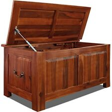Wooden Storage Box Large Ottoman Solid Wood Blanket Trunk End-Of-Bed Storage New