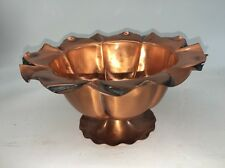 """Vintage Hand Hammered Copper Footed Bowl, 4"""" High X 7 1/4"""" Beautiful"""