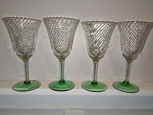 "Set of 4 Optic Swirl Water/Wine Stemware Green Base  7"""