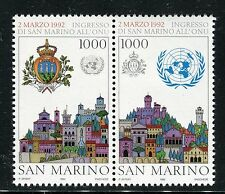 SAN MARINO 1992 ONU-UNO ADMISSION/VIEW/BUILDINGS/EMBLEMS/TREES  MNH