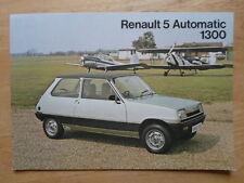 RENAULT 5 AUTOMATIC 1300 1978 UK Mkt Sales Leaflet Brochure