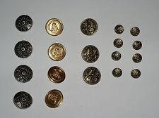 Konvolut 19 Goldfarbe Metallknöpfen mit 4 verschiedenen Mustern in zwei Größen